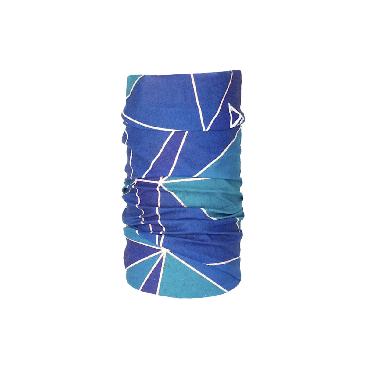 Bandana for all outdoor activities in green and blue color with mosaic pattern