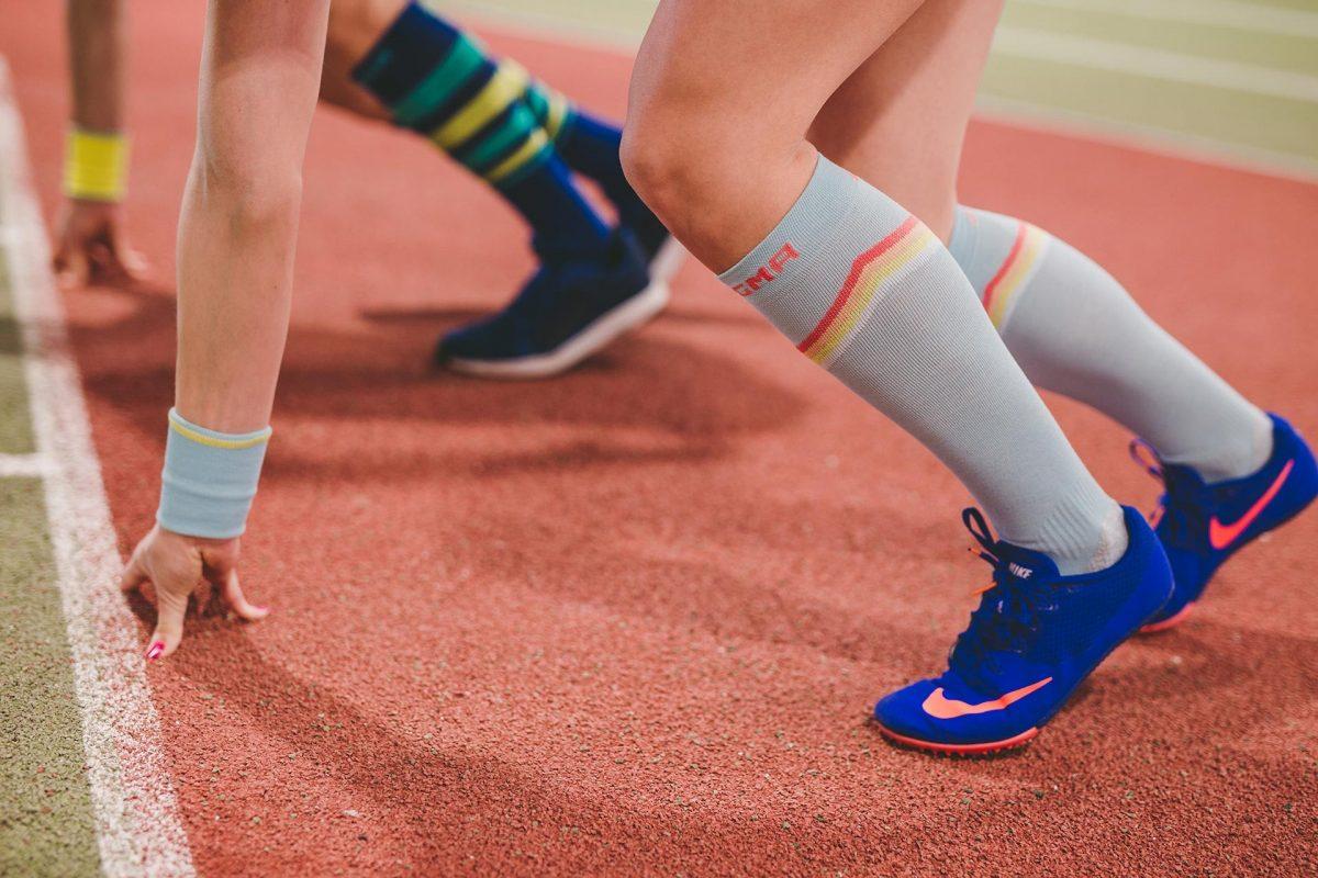 dogmasocks the gazelle baby blue v stripe side design, knee height