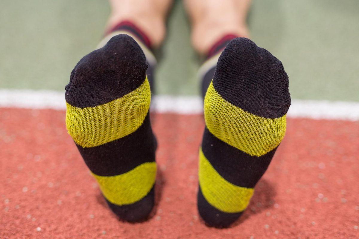 dogmasocks run the gazelle black v stripe feet design and structure