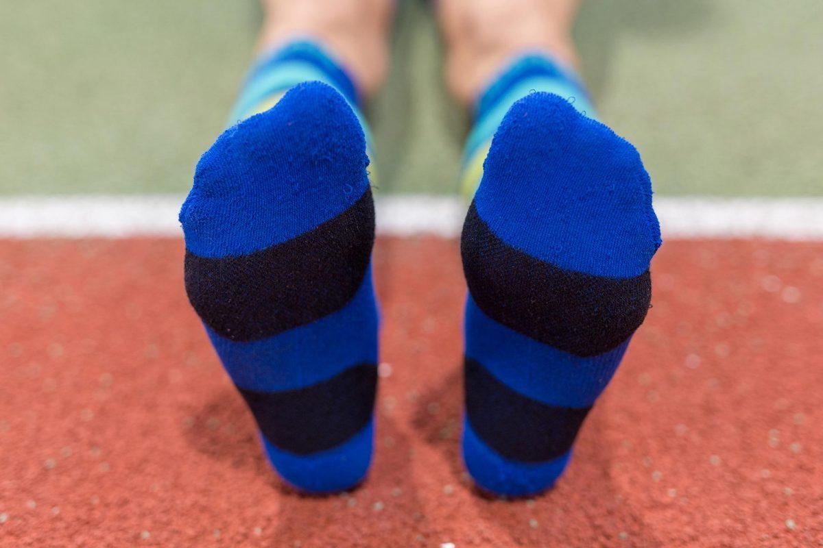 dogmasocks run the gazelle indigo stripe feet design