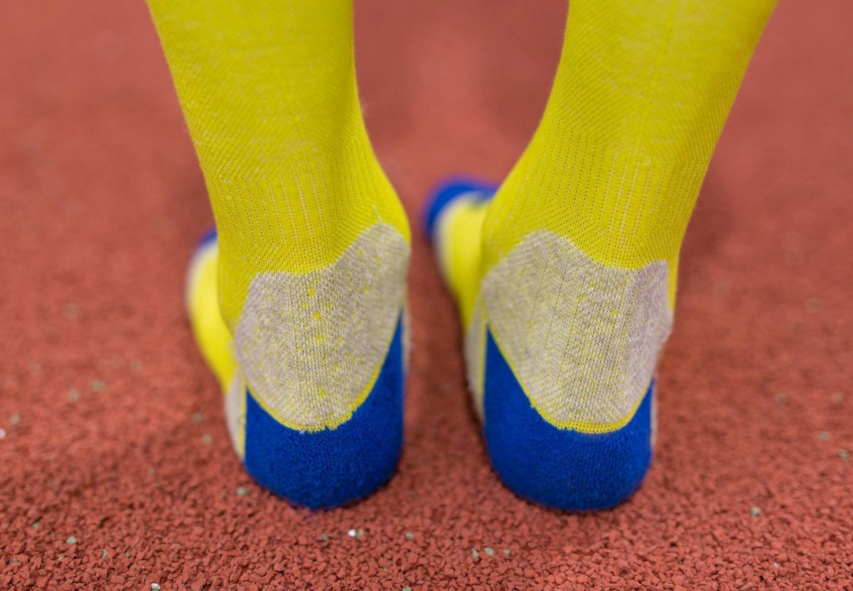 dogmasocks run the gazelle lime stripe ankle design and structure