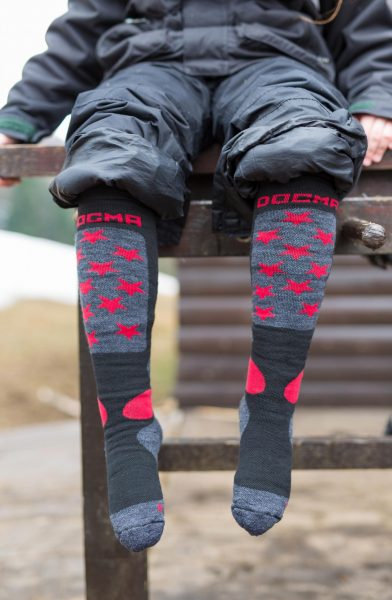 Front picture of dogma snow fox junior stars grey socks for winter