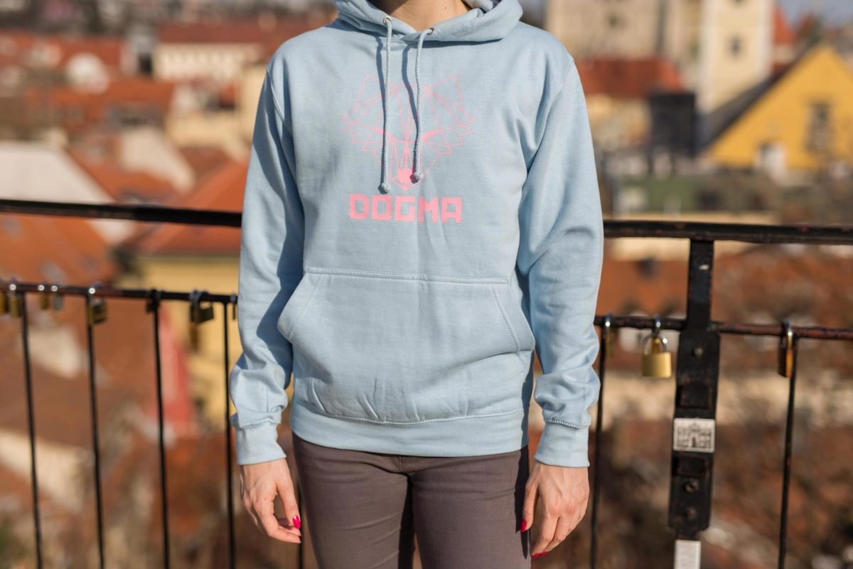 A picture of a girl wearing dogma hoodie in baby blue with printed fox and Dogma sign in pink color. Picture is showing hoodie close up.