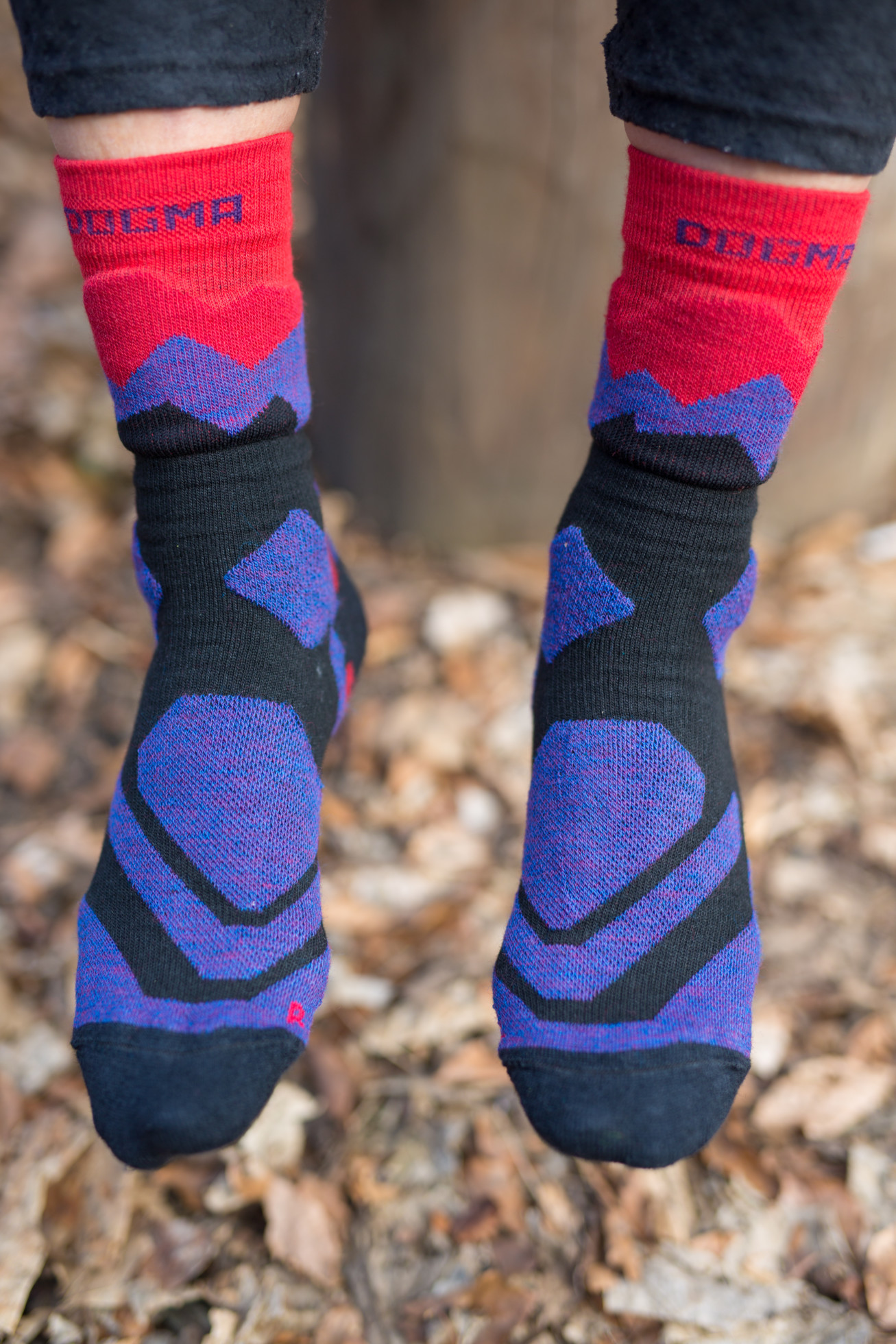hiking socks in purple and fiery red color
