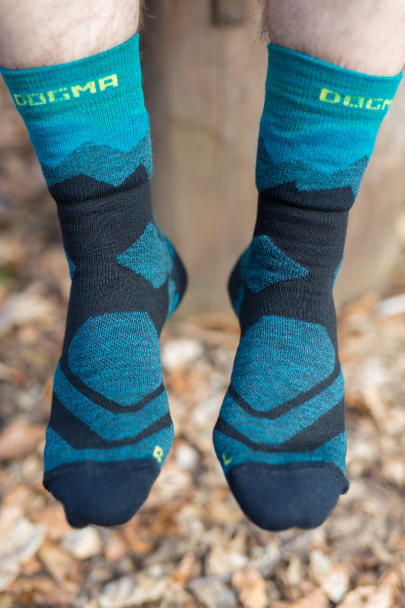 hiking socks in teal green and black color