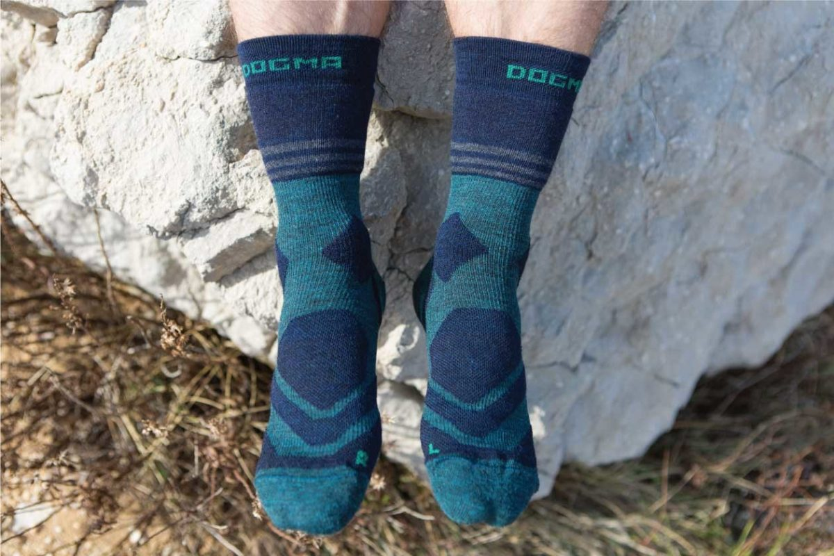 Dogmasocks Mountain Lion hiking socks for men. Full picture of Mountain Lion Green design, mid calf
