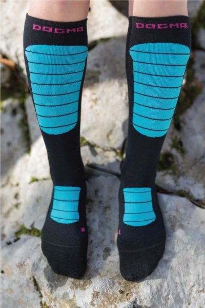 Dogmasocks Snow Eater winter socks for women. Full front design picture