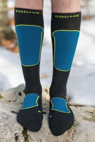 Dogmasocks Snow Eater winter socks for men in blue. Full front design