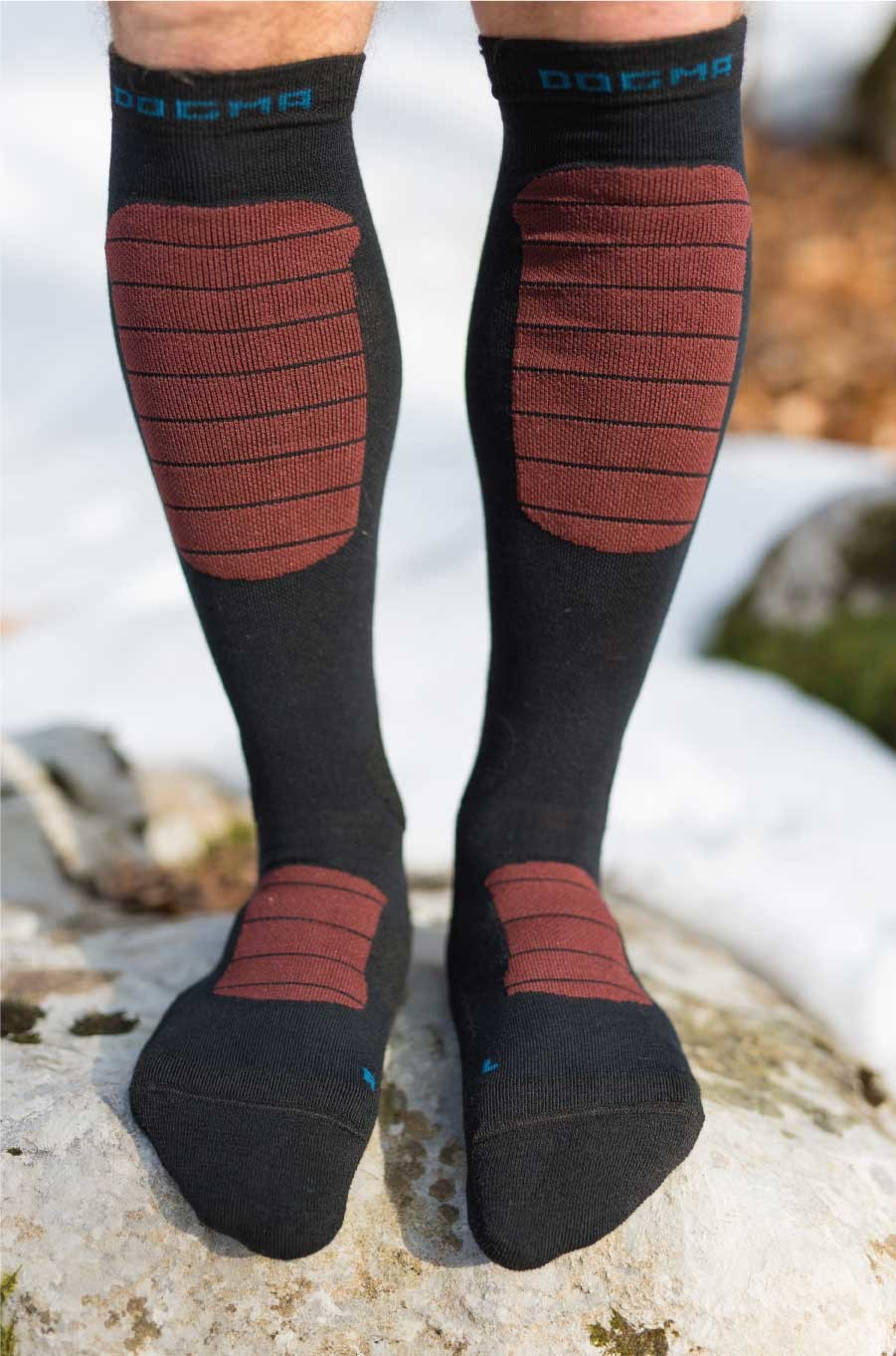 Dogmasocks Snow Eater winter socks for men with burgundy stripes. Full front design