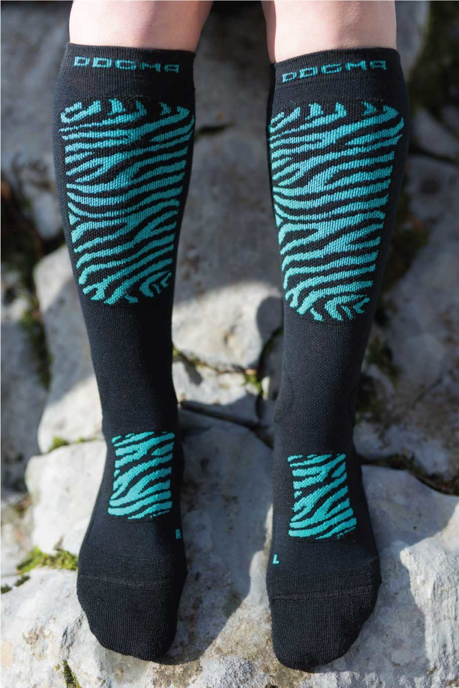 Dogmasocks Snow Eater winter socks for women. with mint tiger design Full front picture of tiger mint design