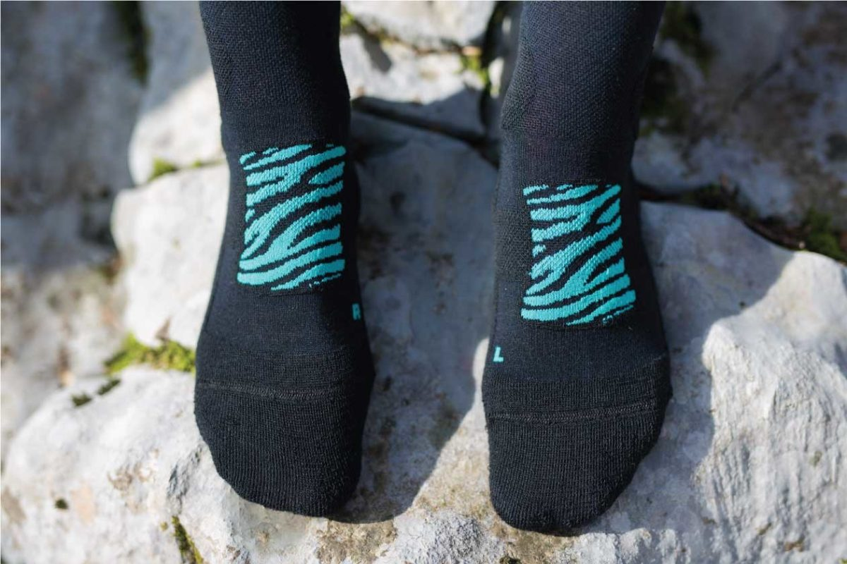 Dogmasocks Snow Eater winter socks for women. with mint tiger design