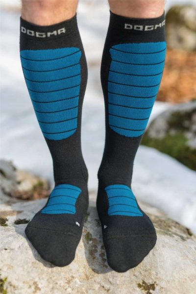 Dogmasocks Snow Eater winter socks for men with petrol stripes. Full front design, knee height