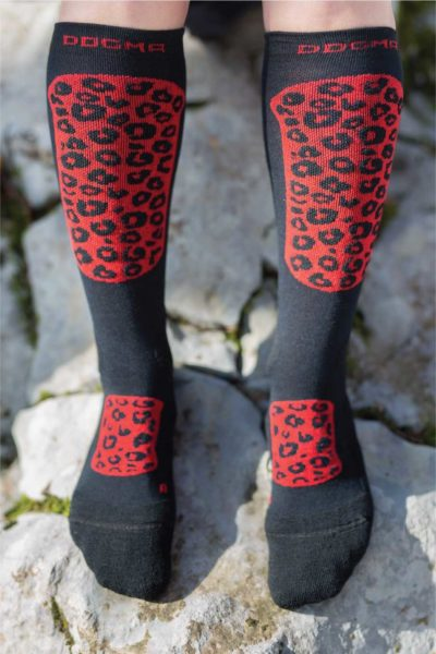 Dogmasocks Snow Eater winter socks for women. with Red Leopard design. Full front design