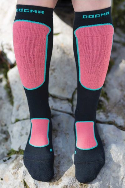 Dogmasocks Snow Eater winter socks for women. with Red Leopard design. full front design picture