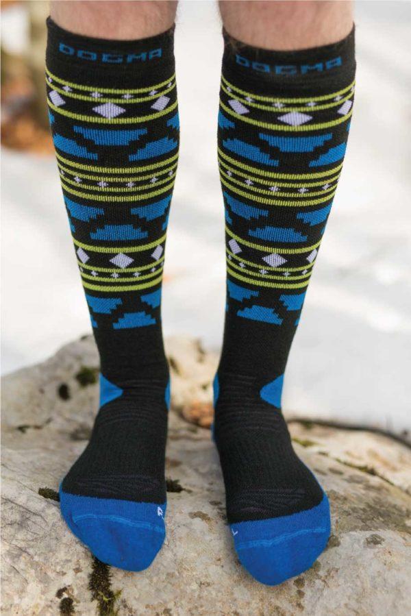 Dogmasocks snow fox aztec black winter socks for men. Knee height, full design