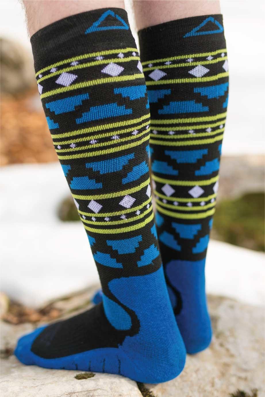Dogmasocks snow fox aztec black winter socks for men. Back side design
