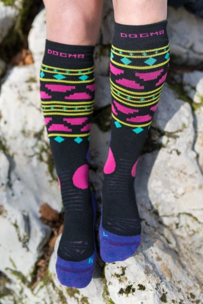 Dogmasocks snow snow fox aztec black front aztec design