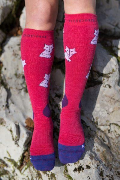 Dogmasocks snow snow fox foxy salmon front design