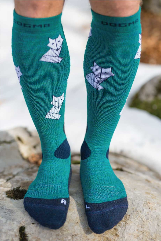 Dogmasocks snow snow fox foxy teal men winter socks. Full design with fox print