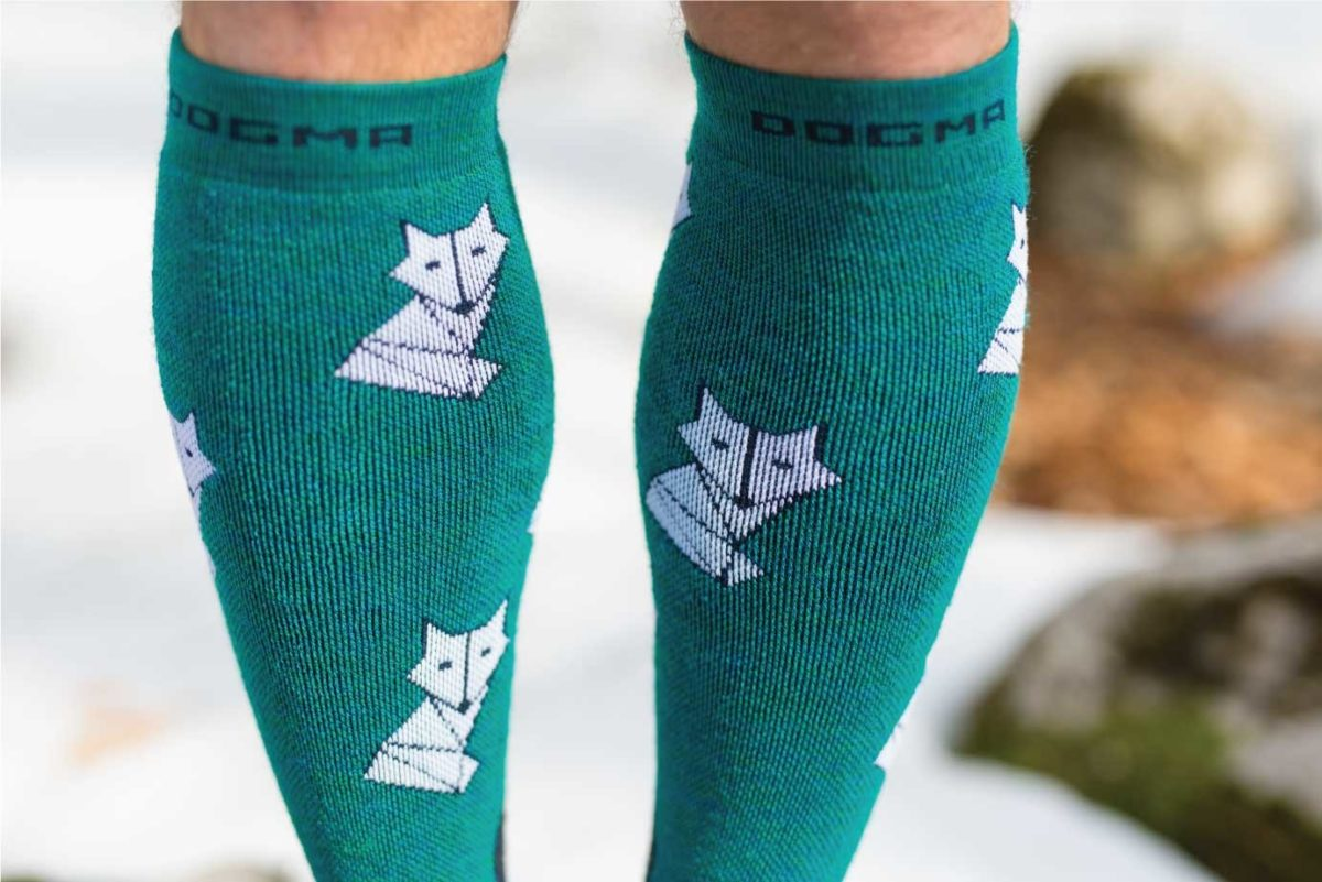 Dogmasocks snow snow fox foxy teal for men. This picture is showing fox print design on front