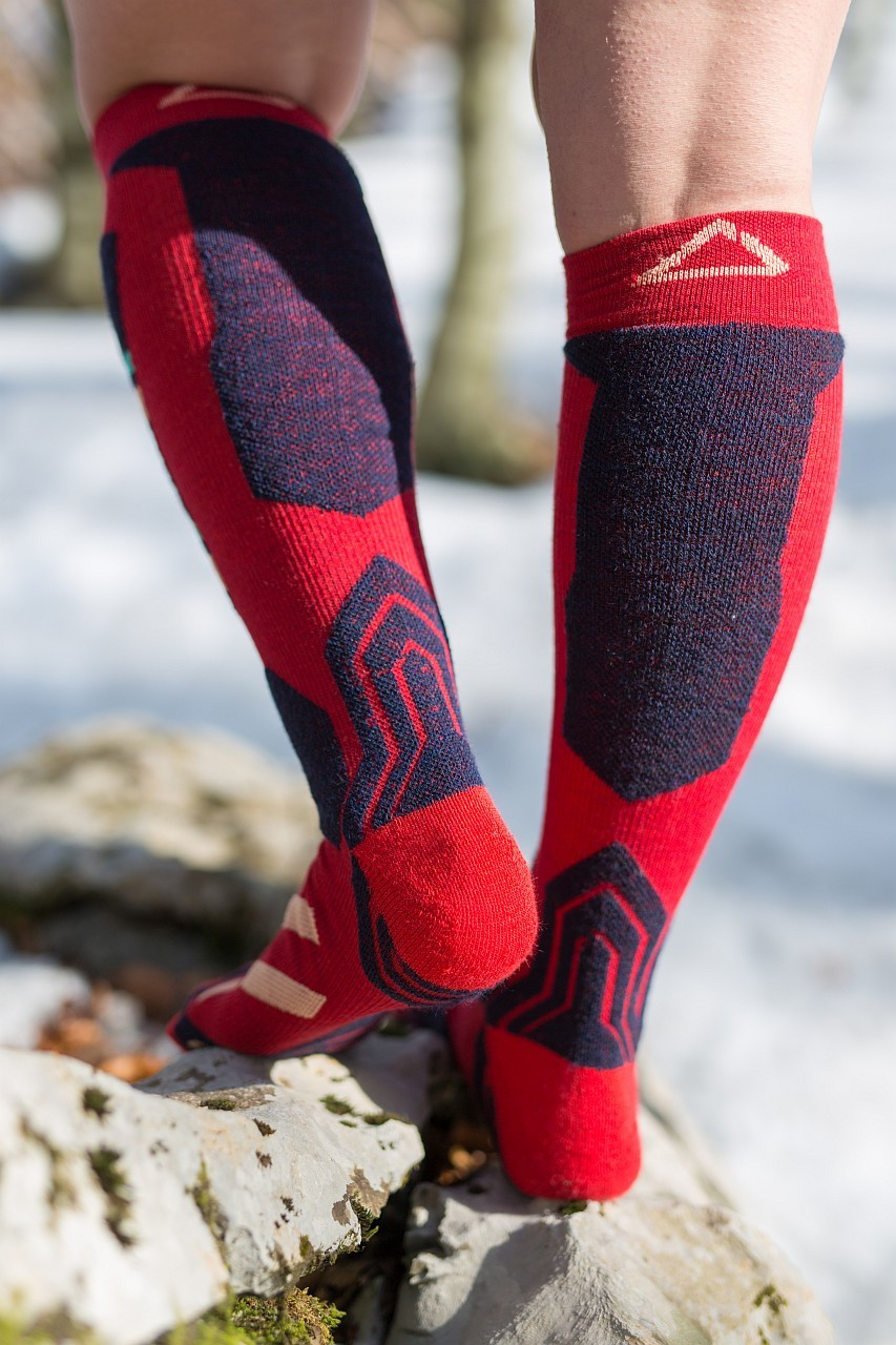 Dogmasocks snow snow leopard retro red back side design