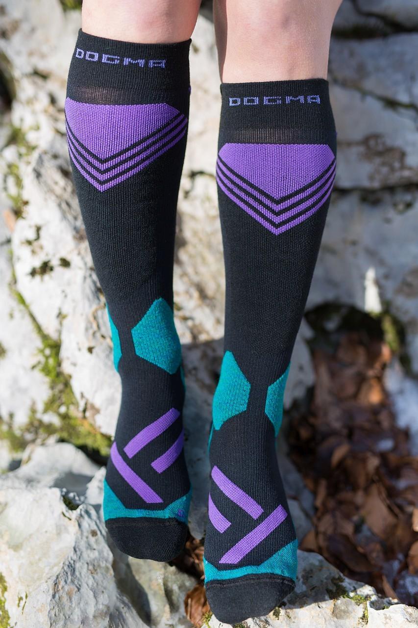 Dogmasocks snow snow leopard socks shield purple front design