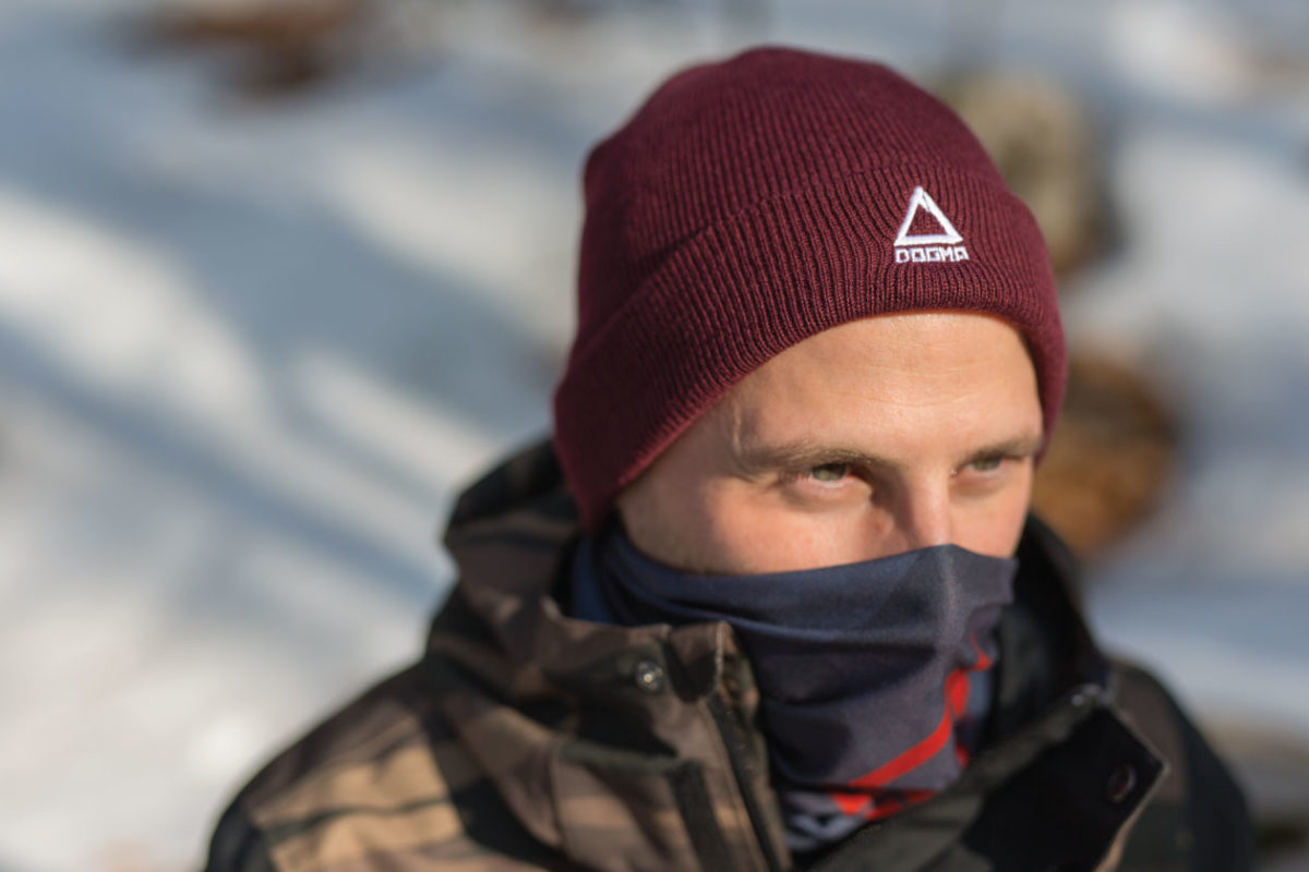 Dogmasocks winter knit beanie for men in bordeaux color