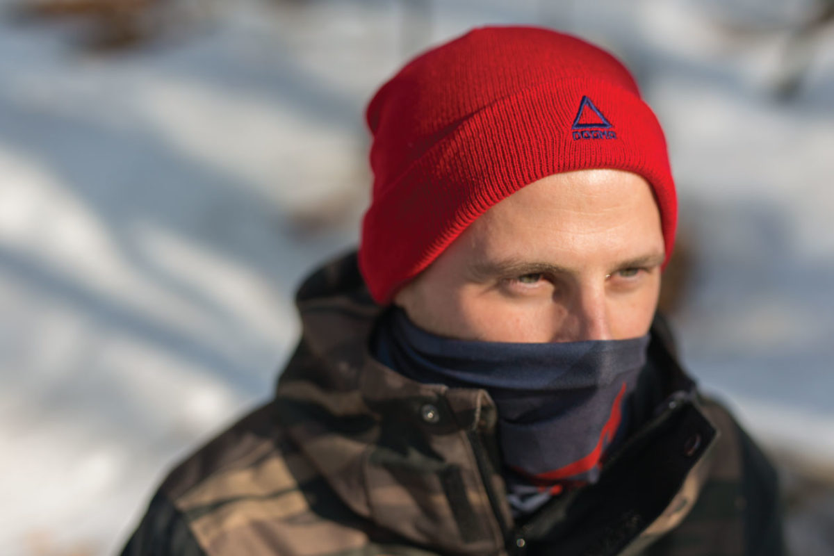 Dogmasocks winter knit beanie for men in red color