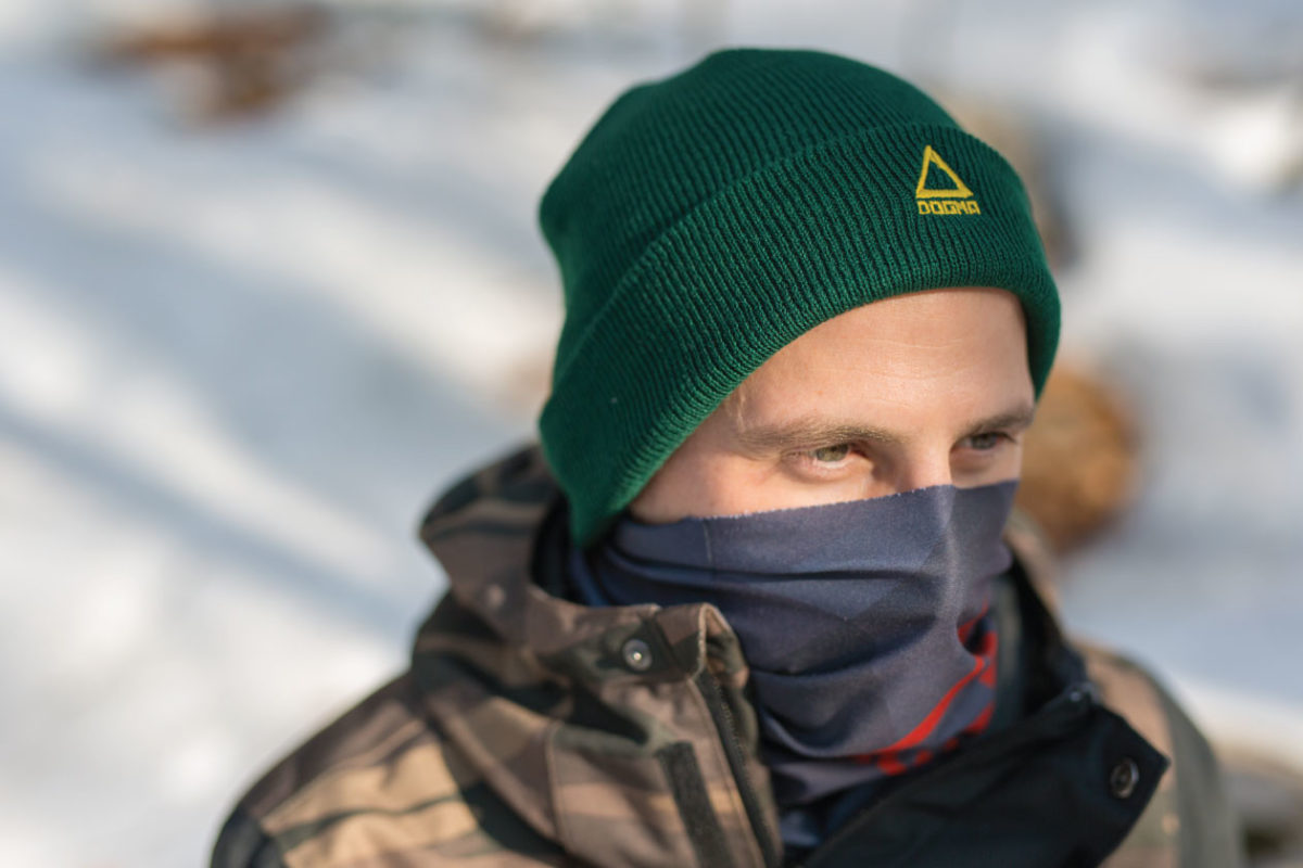 Dogmasocks winter knit beanie in green color