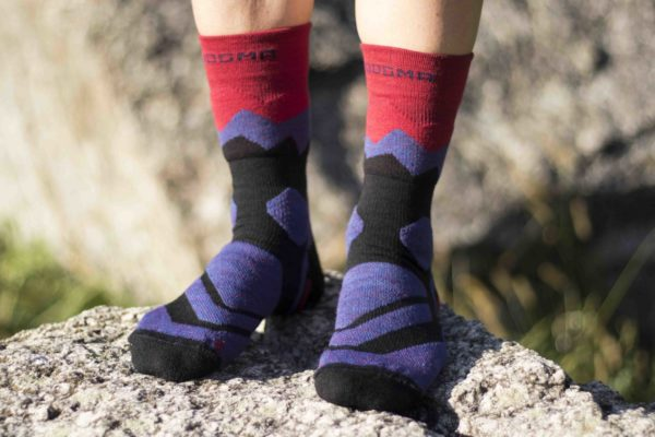 hiking socks with fiery red color