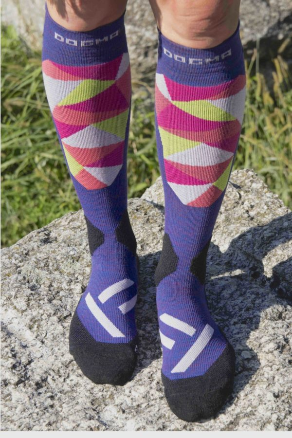 ski socks in purple with colorful mosaic pattern