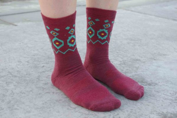 red socks with nordic green pattern