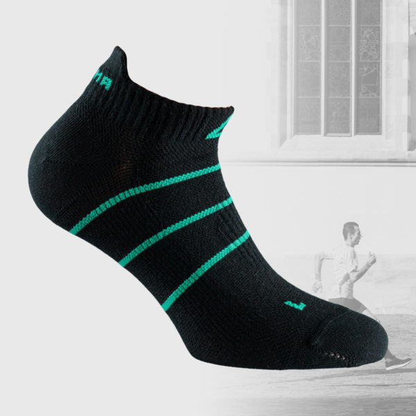 black running socks with green stripes