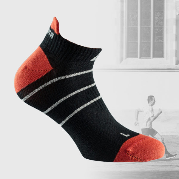black running socks with orange leel and toe