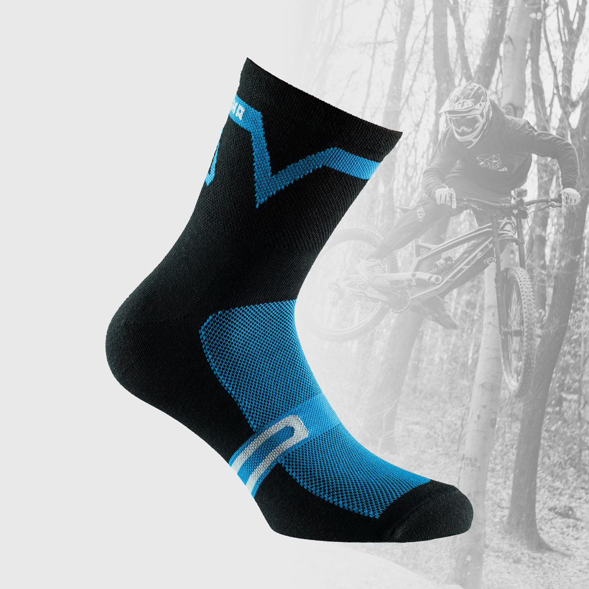 black cycling socks with blue details