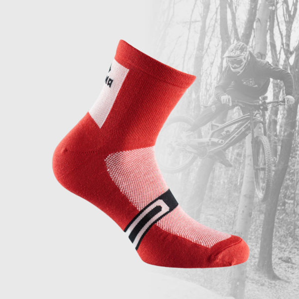 red cycling socks with white mesh insert