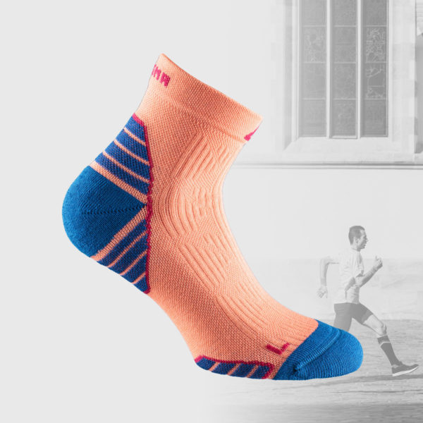 running socks in salmon color