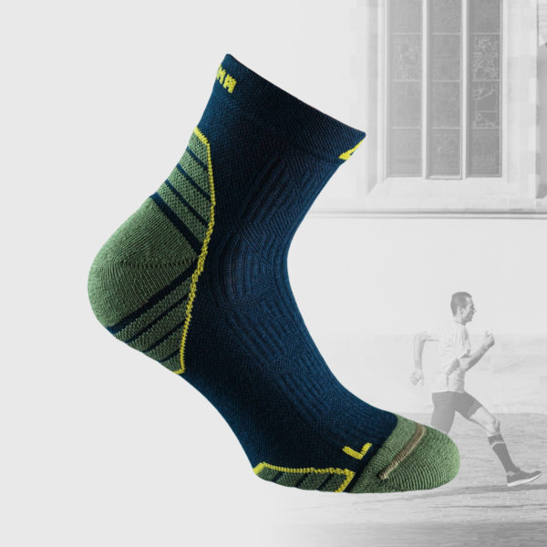 running socks in blue and military green