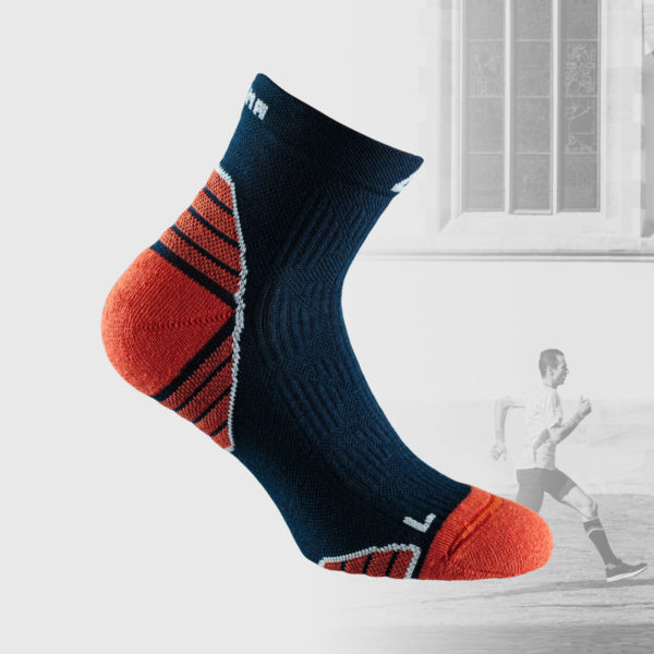 navy running socks with orange details