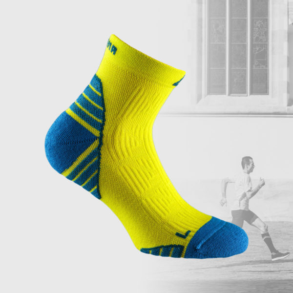 running socks in lime color with indigo blue heel and toes