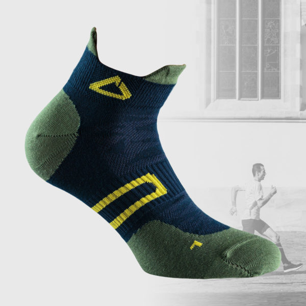 daek blue running socks with green and yellow details