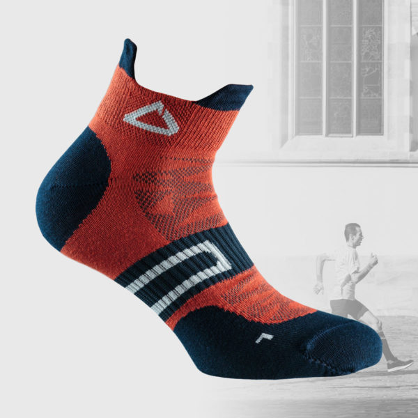 Orange running socks with dark blue details