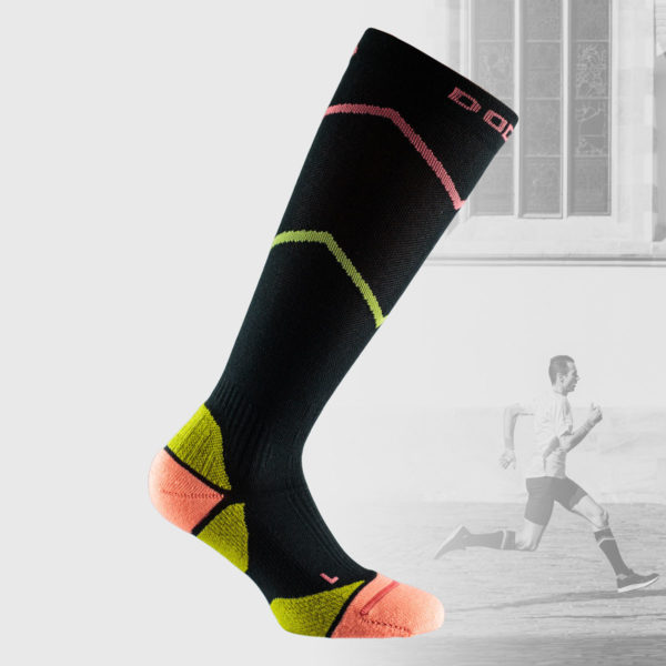 black compression socks with orange and yelllow details