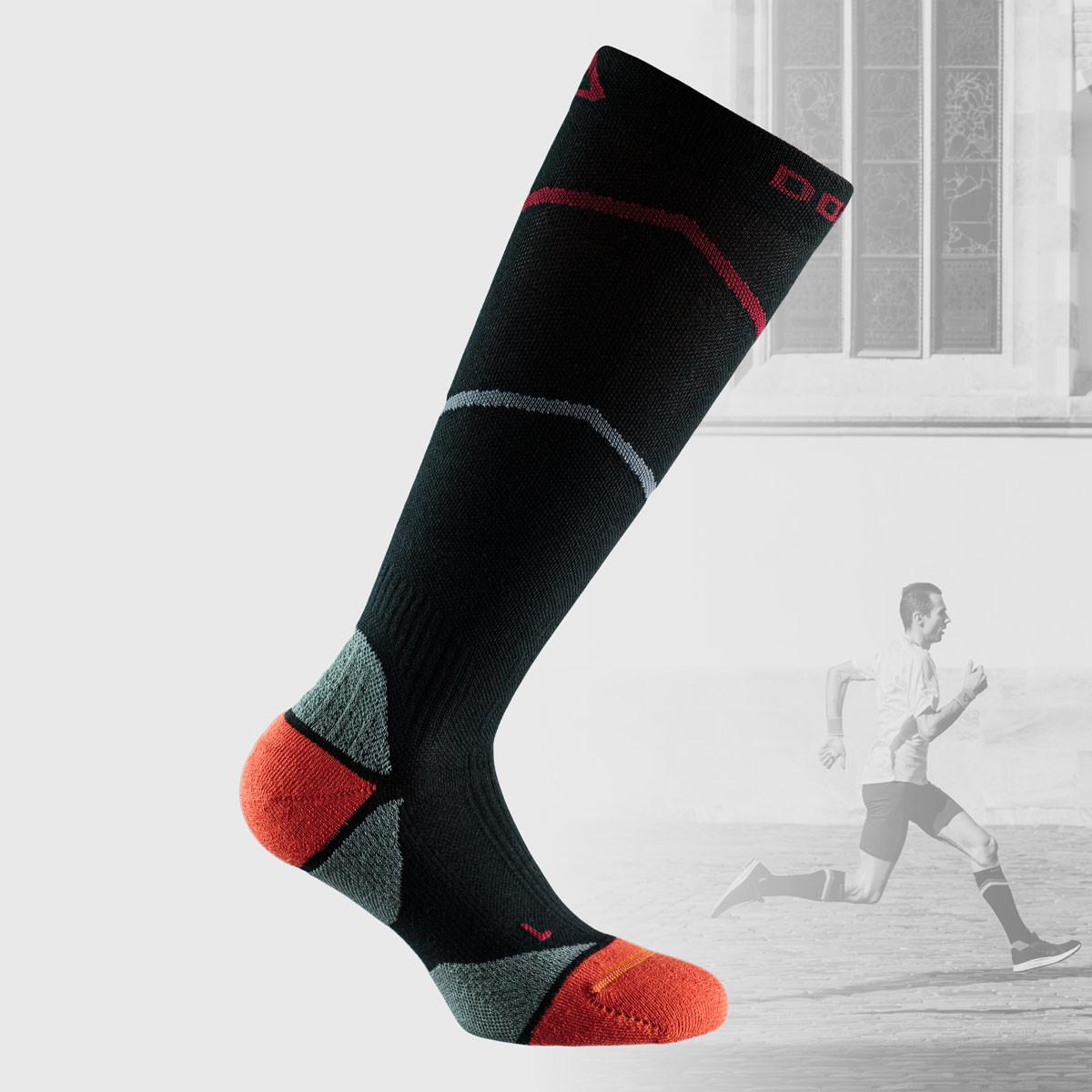 black compression socks with grey and orange details