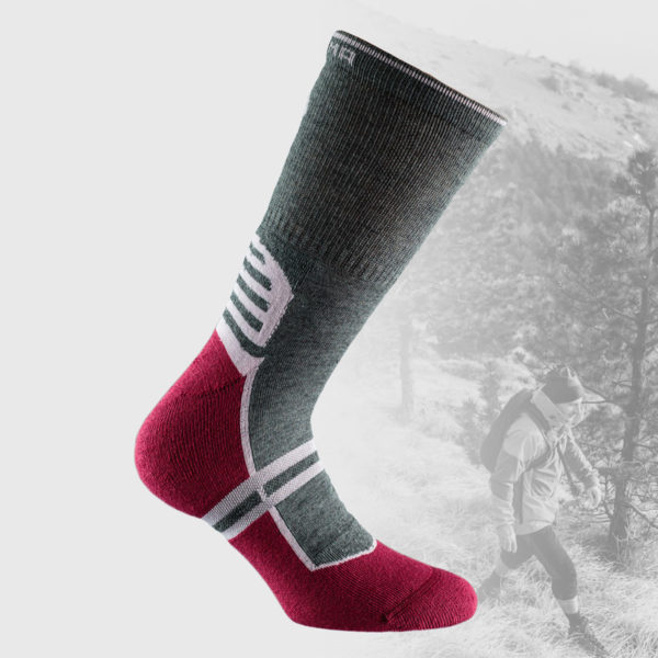 melange grey hiking socks with magenta sole