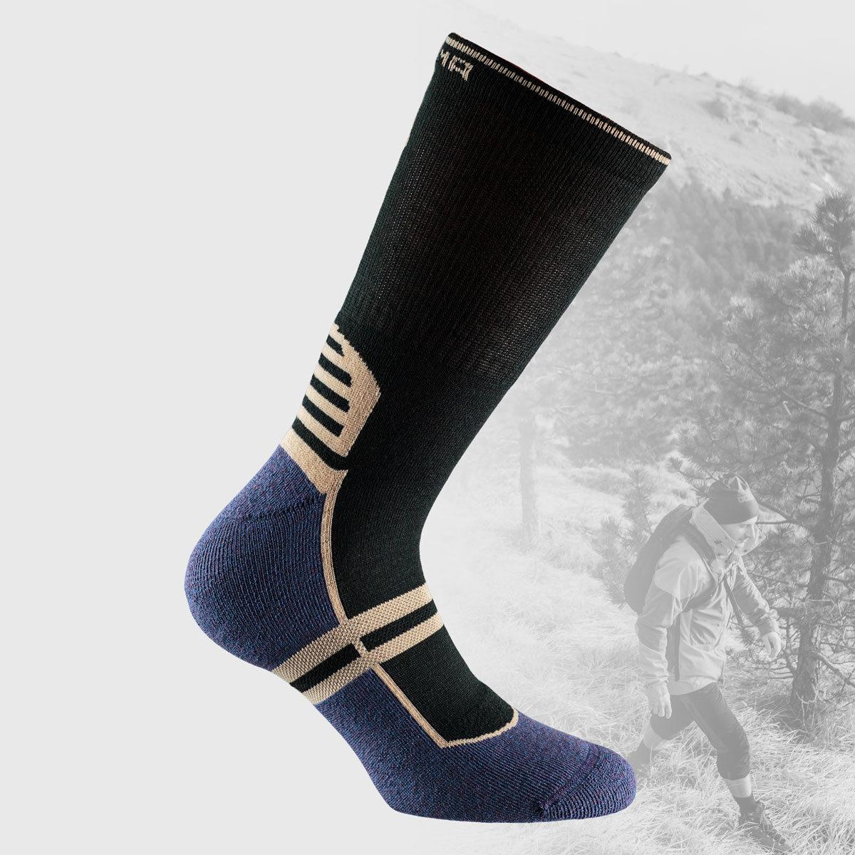 black hiking socks with purple sole
