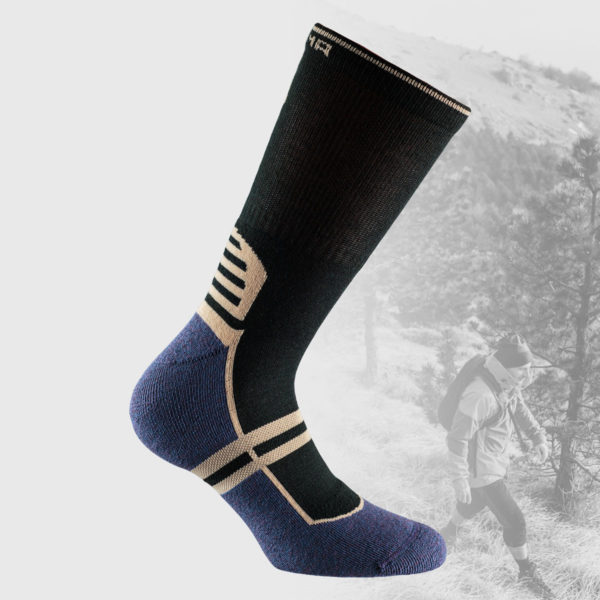 black hiking socks with purple sole