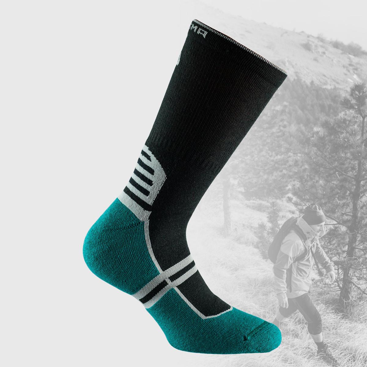 black hiking socks with green sole