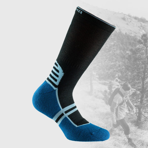 hiking socks in black color and with blue sole