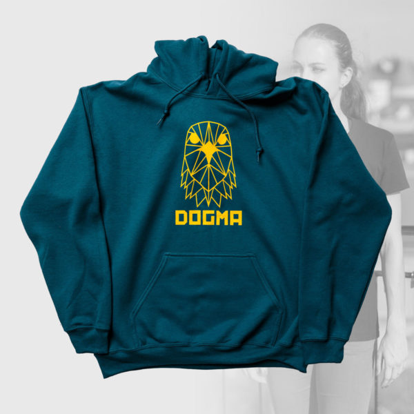 petrol hoodie with yellow logo design